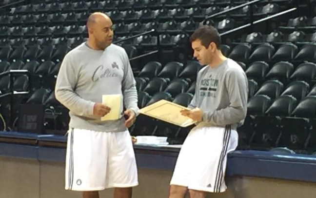 Stevens (right), with former Butler and Purdue assistant Micah Shrewsberry, who's on his staff in Boston.