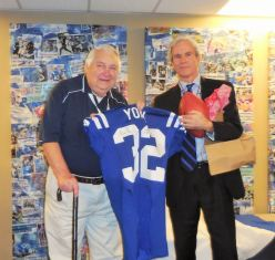 Bill York presented with a Colts jersey by COO Pete Ward at the final home game of the 2015 season. [Photo: Steve McClure]