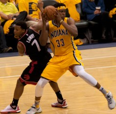 Myles Turner started 34 games, including four in the postseason, in his rookie year. [Frank McGrath/PS&E]
