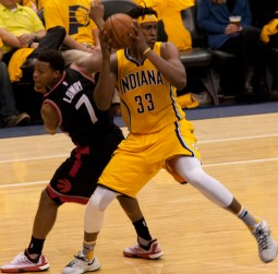 Rookie Myles Turner had 17 points, 8 rebounds, and 3 blocks —and picked up his first technical foul. [Frank McGrath/PS&E]