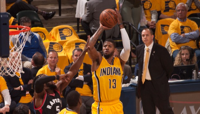 Paul George had his best playoff game, willing the Pacers to a Game 5 victory. [Frank McGrath/PS&E]