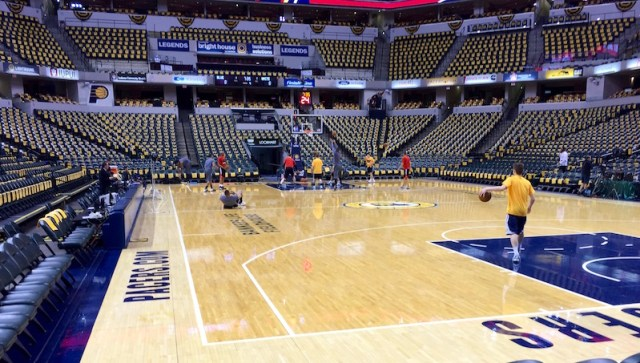 The view from Pacers owner Herb Simon's seat before Game 4.