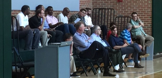 Pacers executives and scouts look on during a pre-draft workout.