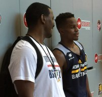 Yogi Ferrell with Carlos Knox during his pre-draft workout with the Pacers.