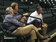 Pacers executives Donnie Walsh, Larry Bird, and Kevin Pritchard.
