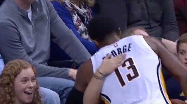 Paul George hugged Lindsey before exiting the floor.