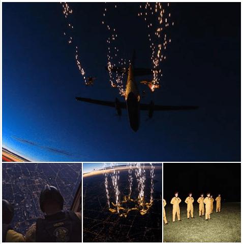 Postagem na página do Facebook do Gold Team de paraquedistas do Exército dos EUA
