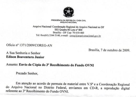 Recorte do ofício que atesta a permuta entre o Arquivo Nacional e o pesquisador Edison Boaventura
