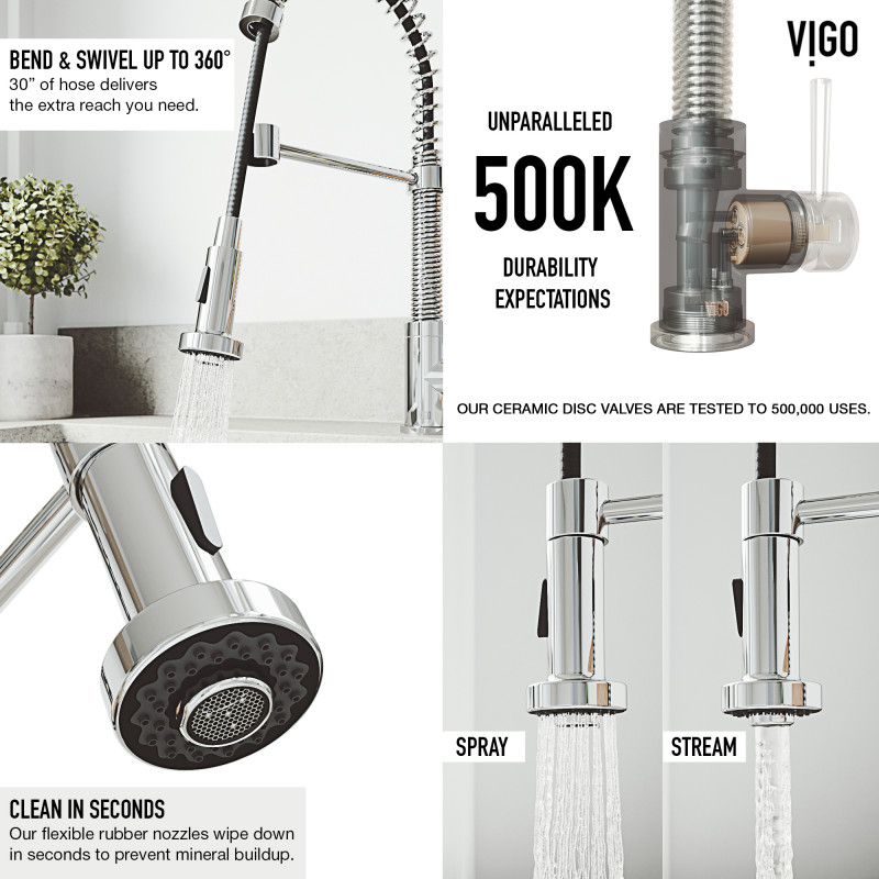 vigo edison pull down spray kitchen