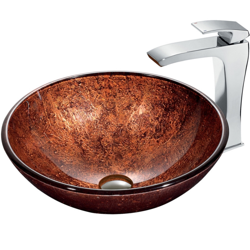 mahogany moon vessel sink in copper
