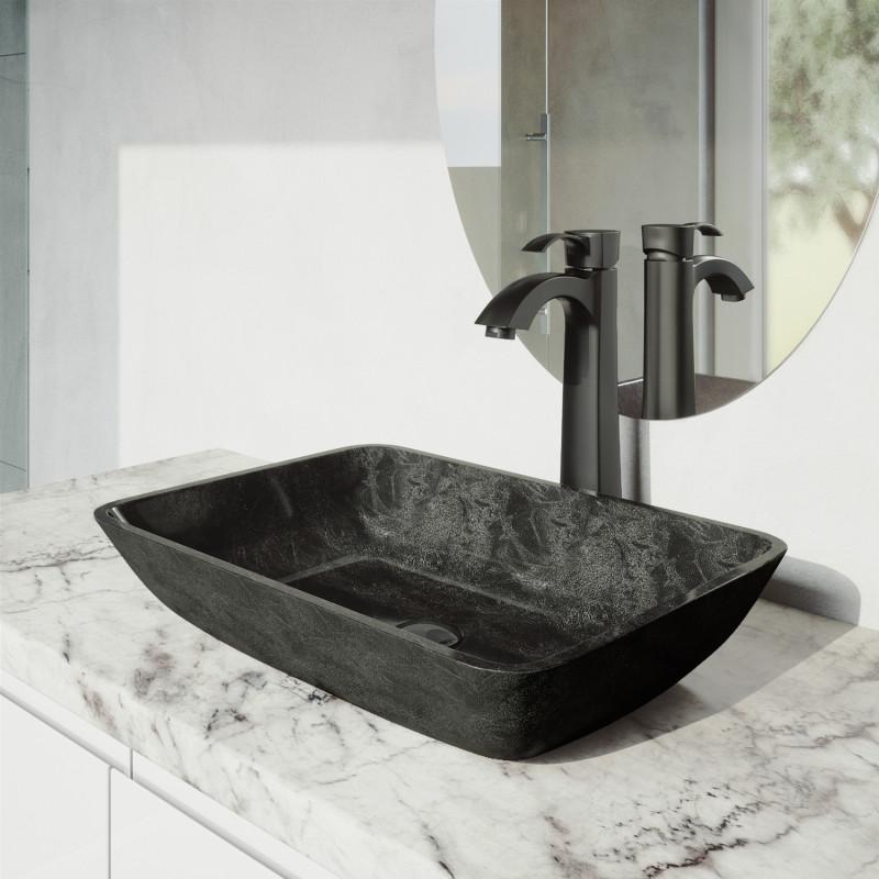 vigo rectangular gray onyx glass vessel