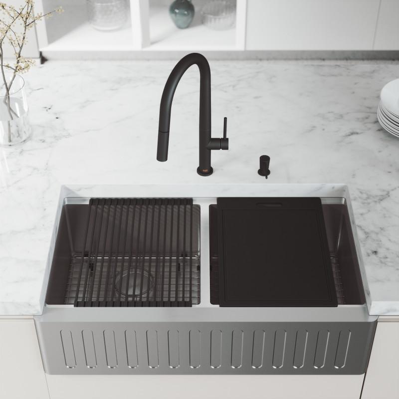 flat apron front farmhouse kitchen sink