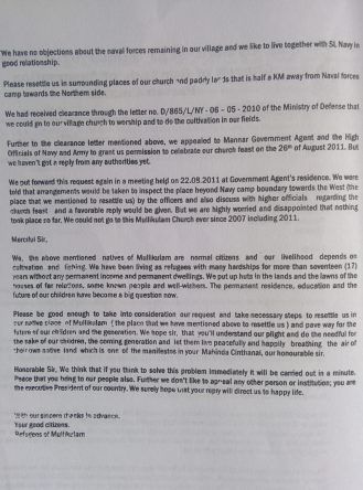 Appeal-letter-signed-by-136-villagers-from-Mullikulam-to-former-President-Rajapaksa-in-Sept.-2011-2-e1491475508494