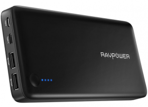 black shell with two usb port power bank made by RAVPower