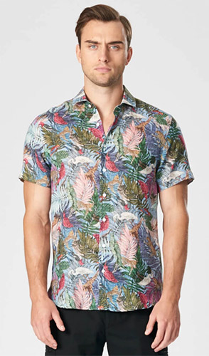 Jungle printed short sleeve linen