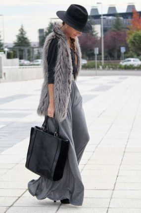 Image result for knitted maxi dress with fur gilet