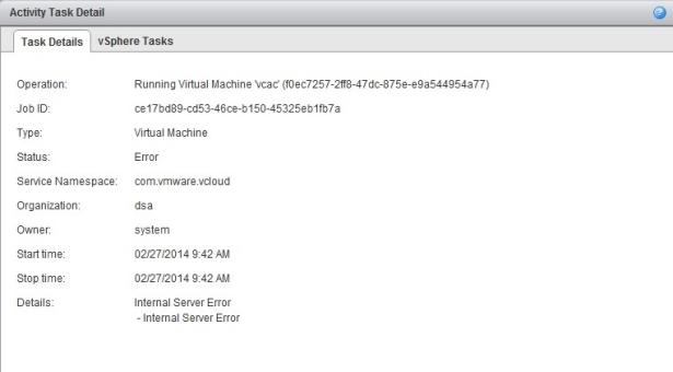 vCloud Director: Internal Server Error when starting a VM