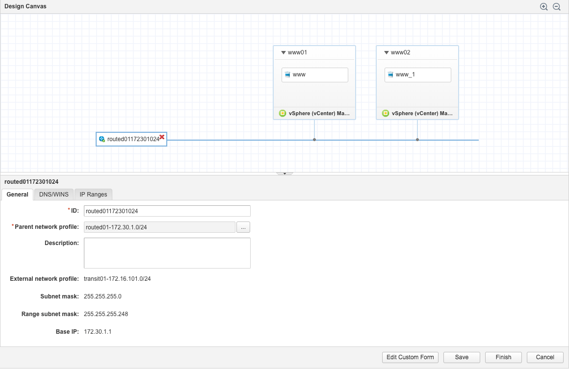 Deploy an nsx routed network with vrealize automation viktorious and link it to the routed network profile created earlier as explained this post how to configure an nsx routed network profile in vrealize automation malvernweather Images