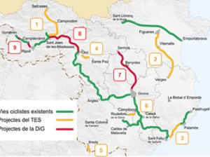 Vies ciclistes a les comarques gironines