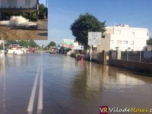 L'Avinguda de Rhode de Roses inundada
