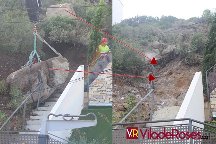 Roca de 9 tones retirada al Puig Rom