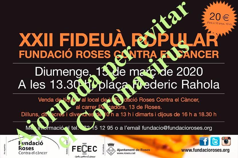 Ajornada la XXII Fideuada Popular de la Fundació Roses Contra el Càncer