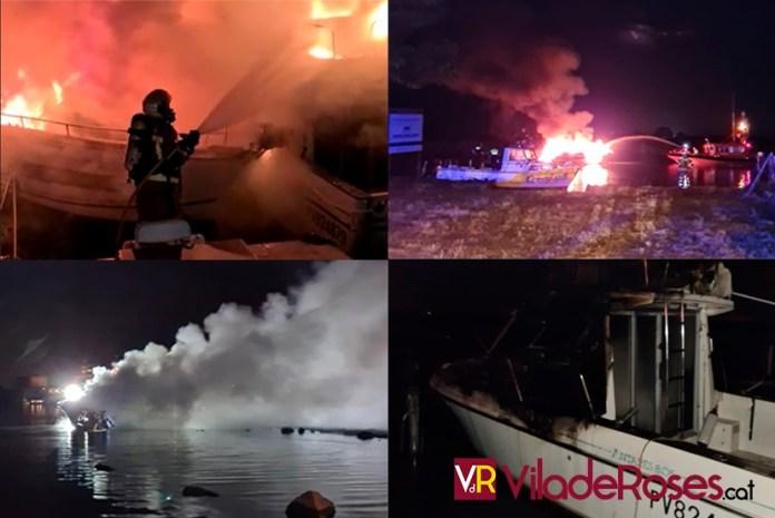 Incendi de dues embarcacions a Santa Margarida, Roses