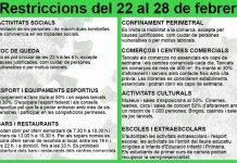 Restriccions fins al 28 de febrer