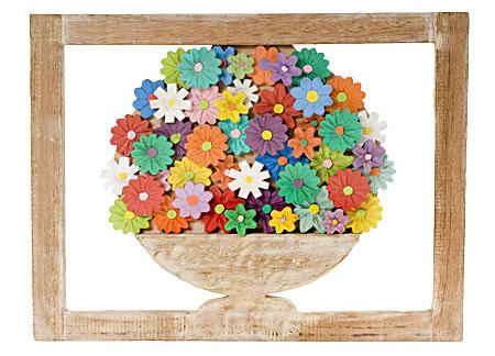 Quadro de Flores com aparas de madeira