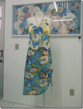 Frente do vestido com chita