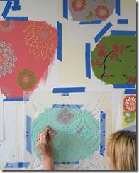 Posicione os moldes de stencil com os detalhes