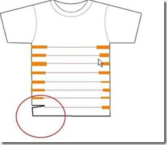 Marque a camiseta e corte