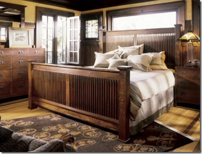 Cama e cômoda no estilo Stickley do Arts & Crafts