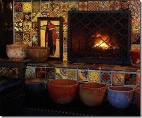 Mistura de azulejos no fogão à lenha