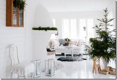 Ambiente aconchegante de sala de estar pronta para o natal