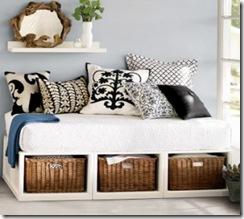 Almofadoes para a cama sem cabeceira
