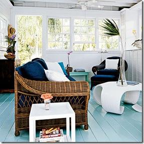 Vida para a decoração com piso de madeira pintada