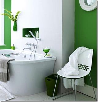 O estilo clean nos objetos de design do banheiro verde