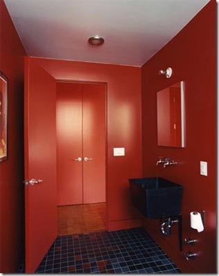 Estilo sensual ao banheiro em vermelho