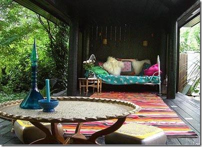 Gazebo com espaço estilo indiano