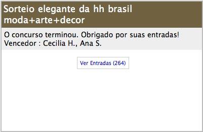 Sorteio elegante hh brasil - resultado