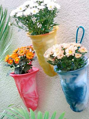 Coadores de pano que são vasos de flores muito fofos