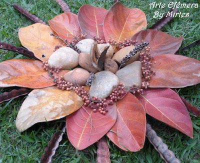 Mandala folhas e pedras de Mirtes Pegorer