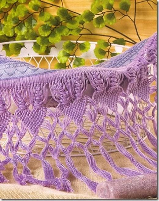 Barrado de toalha em fios de algodão e macramê