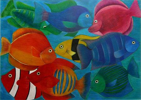 Peixes, pintura em lápis de cor de Marjorie Rocha de Oliveira