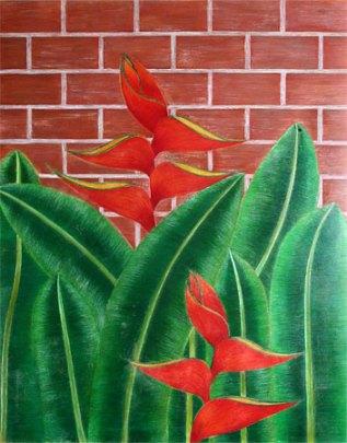 Helicônias no Muro, trabalho de Marjorie Rocha de Oliveira