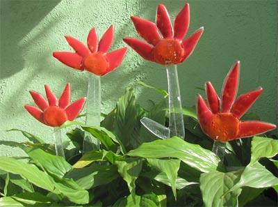 Flores de vidro em fusing de Marisa Martinez