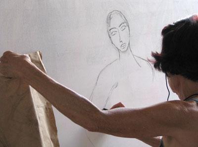 Meirel iniciando um trabalho sobre a tela