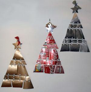 Árvores de parede feitas com reciclagem de latinhas, da Morgan Maia