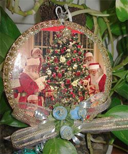 Mandala natalina com reciclagem de cd da Mônica Chaves